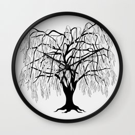 weeping willow on the gray background Wall Clock