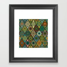 Vintage patchwork with floral mandala elements Framed Art Print