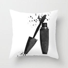 Black mascara fashion illustration Throw Pillow