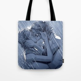 Supercat Kiss in the Rain BLUE Tote Bag