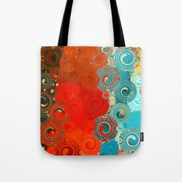 Turquoise and Red Swirls Tote Bag