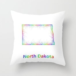 Rainbow North Dakota map Throw Pillow