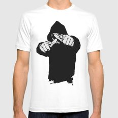 Hey You White Mens Fitted Tee MEDIUM