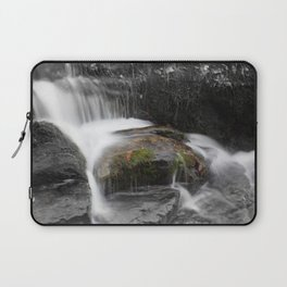 Relaxing water cascading over a moss covered rock Laptop Sleeve