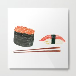 Watercolor Sushi Rolls And Chopsticks Metal Print