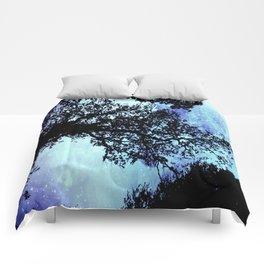 Black Trees Periwinkle Aqua Space Comforters