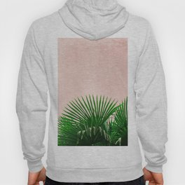 Palm Leaves On Pink Background Hoody