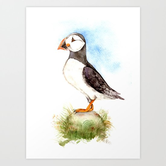 Puffin on a Rock Art Print