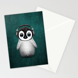Cute Baby Penguin Dj Wearing Headphones on Blue Stationery Cards