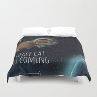 space cat Duvet Covers featuring Space cat by CookiesOChocola
