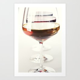 Three glass of wine (white, red and rose) over white Art Print