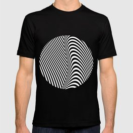 Black and White Pop Art Optical Illusion Lines T-shirt