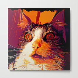 norwegian forest cat omg vector art late sunset Metal Print