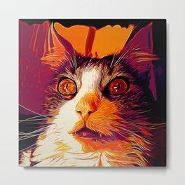 norwegian forest cat omg vector art late sunset Metal Print