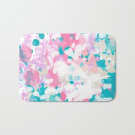 Rhea - abstract minimal painting pink and blue gender neutral nursery Bath Mat