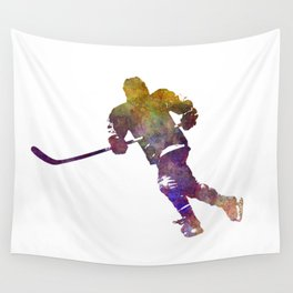 Skater with stick in watercolor Wall Tapestry