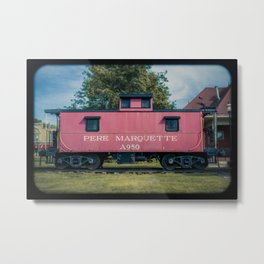 Pere Marquette Railway Red Caboose Vintage Train Rolling Stock  Metal Print