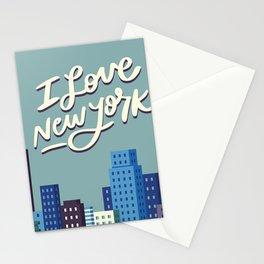 I Love New York Blue City Skyline Stationery Cards
