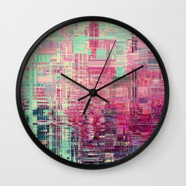 Cyber Glitch Pattern Wall Clock