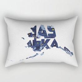 Alaska Typographic Flag Map Rectangular Pillow