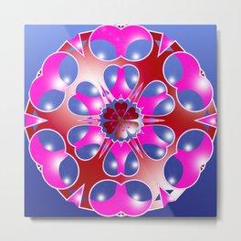 Pink Snowflake on Blue Metal Print