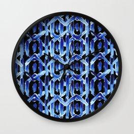 "Black and Blue Watercolor Pattern ""Rain Chain"" Wall Clock"