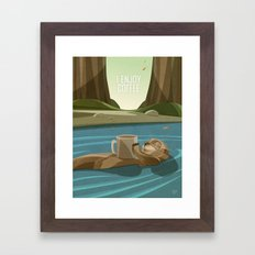 Otter enjoys Coffee Framed Art Print