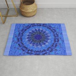 Mandala 04 Cubes Blue on Blue - Extended Border Rug