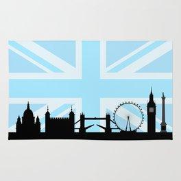 London Sites Skyline and Blue Union Jack/Flag Rug