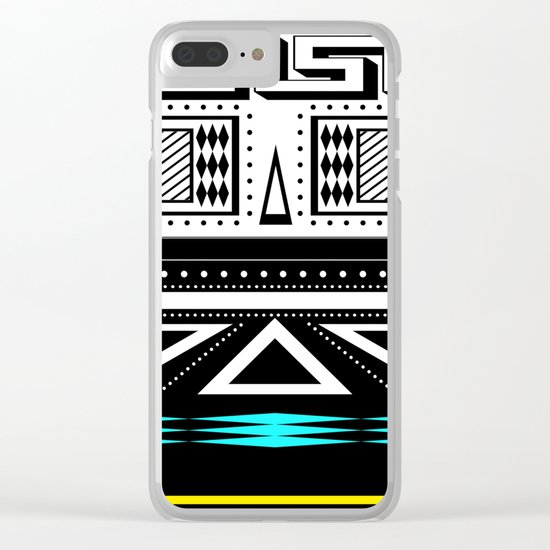 Black and white c turquoise abstract striped pattern 2 . Clear iPhone Case