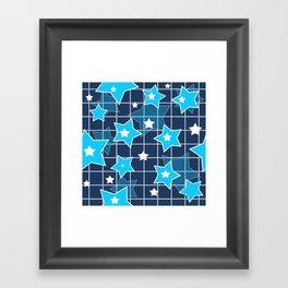 Light blue stars Framed Art Print