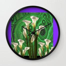 PURPLE GARDEN OF CALLA LILIES GREEN ART NOUVEAU Wall Clock