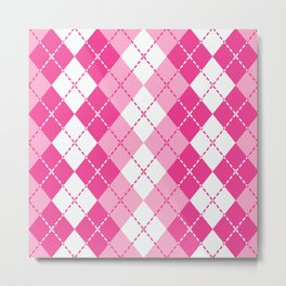 Argyle Design in Pink and White Metal Print
