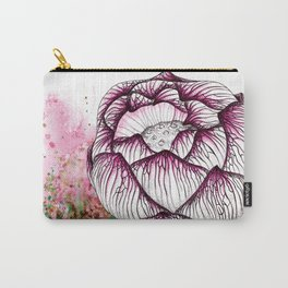 Pink Lotus Flower Watercolour Print, Purity Birth Suddha Buddhism Illustration Botanical Nature Carry-All Pouch