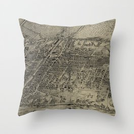 Vintage Pictorial Map of Arlington NJ (1907) Throw Pillow