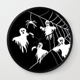 White Ghosts spider web Black background Wall Clock