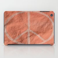 tote bag iPad Cases featuring Peach Peace Sign (Bag Art) by Aries Art