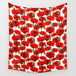 Red Poppy Pattern Wall Tapestry