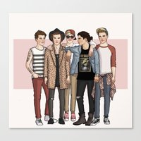 one direction Canvas Prints featuring One Direction by vulcains