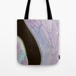 Fluid Art Acrylic Painting, Pour 25, Purple, Teal & Black Blended Color Tote Bag