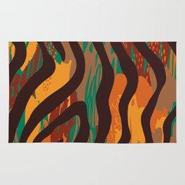 Brown orange green geometric ethnic zebra animal print Rug