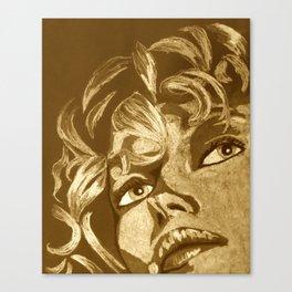 Vintage uplifted lady portrait Canvas Print
