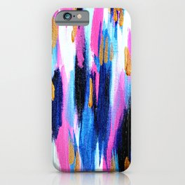 Spring Golden - Pink and Navy Abstract iPhone Case