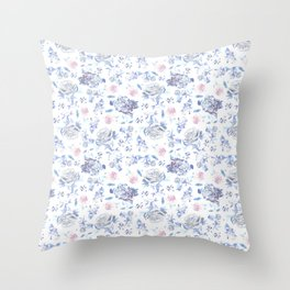 Crystalised Roses in Ming Porcelain  Throw Pillow
