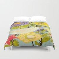 karen Duvet Covers featuring Bird and Butterfly Flowers by Karen Fields by Karen Fields Design