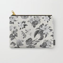 Vintage flowers on cream blackground Carry-All Pouch