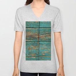 Rustic Teal Boards (Color) Unisex V-Neck