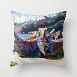 Emily Carr - War Canoes, Alert Bay - Canada, Canadian Oil Painting - Group of Seven Throw Pillow