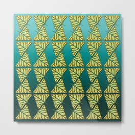 Chartreuse Leaf Triangles Ombre Teal Metal Print
