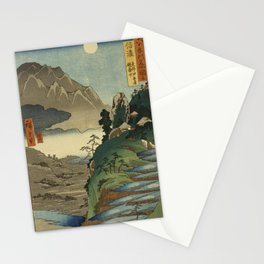 Utagawa Hiroshige - Mt Kyodai and the Moon Reflected in the Rice Fields at Sarashina, Shinano (1858) Stationery Cards